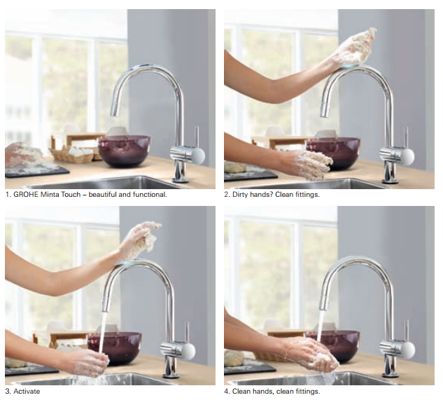 Grohe Minta Touch Sensor Controlled Hands Free Tap With L Spout And
