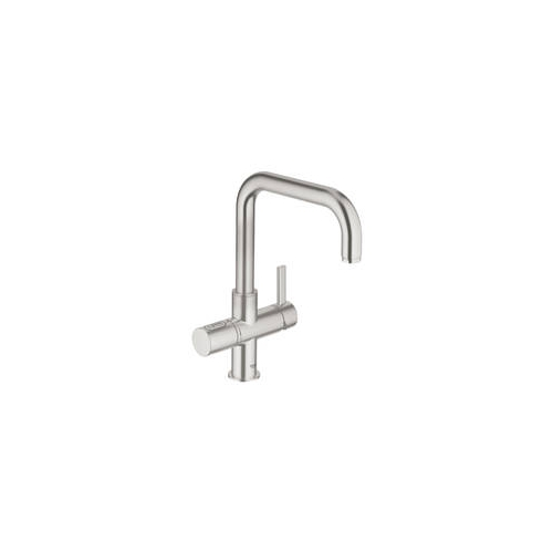 grohe blue pure mixer and cold filter tap with swivel 39 u 39 spout. Black Bedroom Furniture Sets. Home Design Ideas